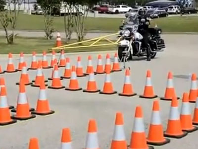 Riding around cones